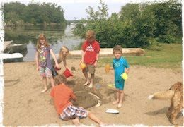sandy beach for sand castles, beach volleyball & horseshoes