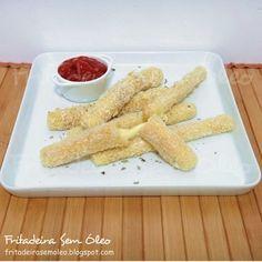 Mozzarella Sticks na AirFryer (Palitos de Muçarela) - Fritadeira sem Óleo - AirFryer