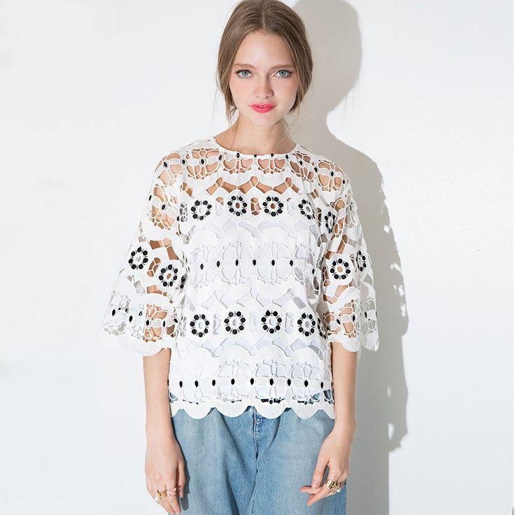 2016 Summer Women Lace Blouse Hollow Tops Shirts