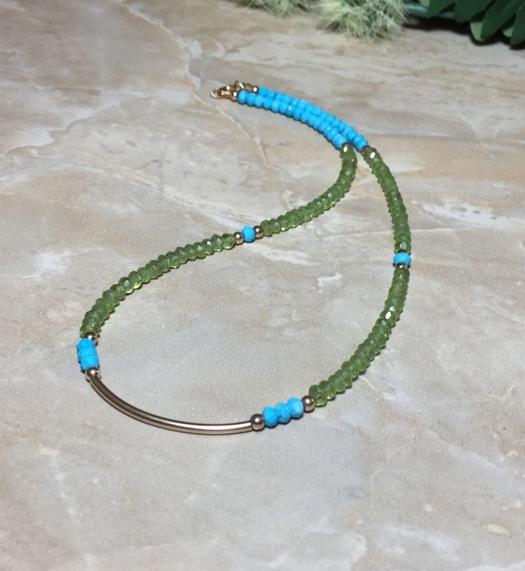 Turquoise Necklace, Peridot Necklace, August Birthstone, Turquoise Choker, Peridot Choker, Gemstone Choker, Gift For Her by SymbolicGems on Etsy https://www.etsy.com/listing/450164630/turquoise-necklace-peridot-necklace