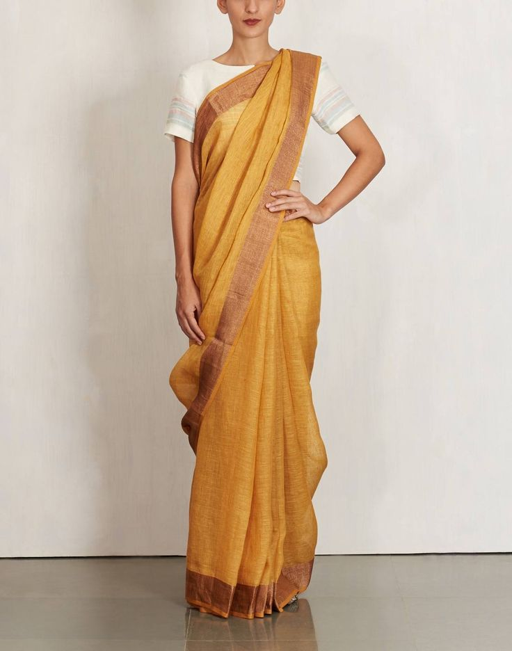 Mustared Zari Checkered Border Saree by Anavila