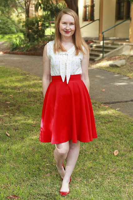 Day 11 Me Made May - Sleeveless Jasmin Blouse & Self-drafted Red Circle Skirt {via Jennifer Lauren Vintage}