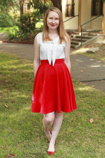 Day 11 Me Made May - Sleeveless Jasmin Blouse & Self-drafted Red Circle Skirt {via Jennifer Lauren Vintage}