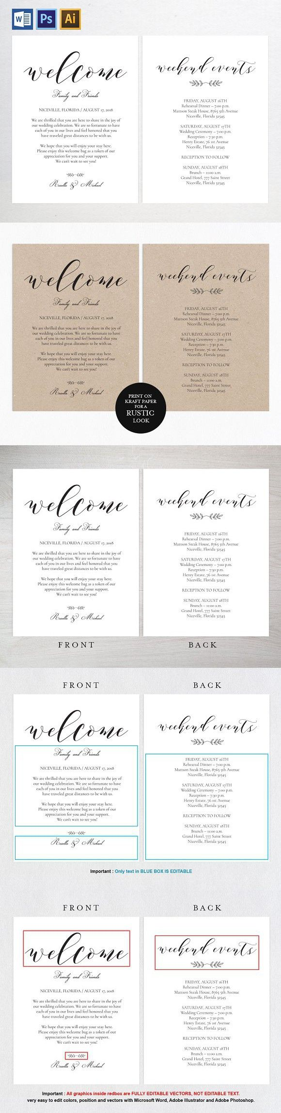 33 best printable wedding downloads images on pinterest wedding welcome bag note wpc 112 invitation templates pronofoot35fo Gallery
