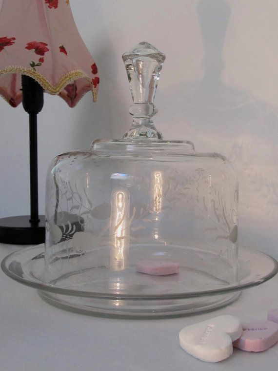 Vintage Etched Glass Cake Stand With Dome Lid Vintage