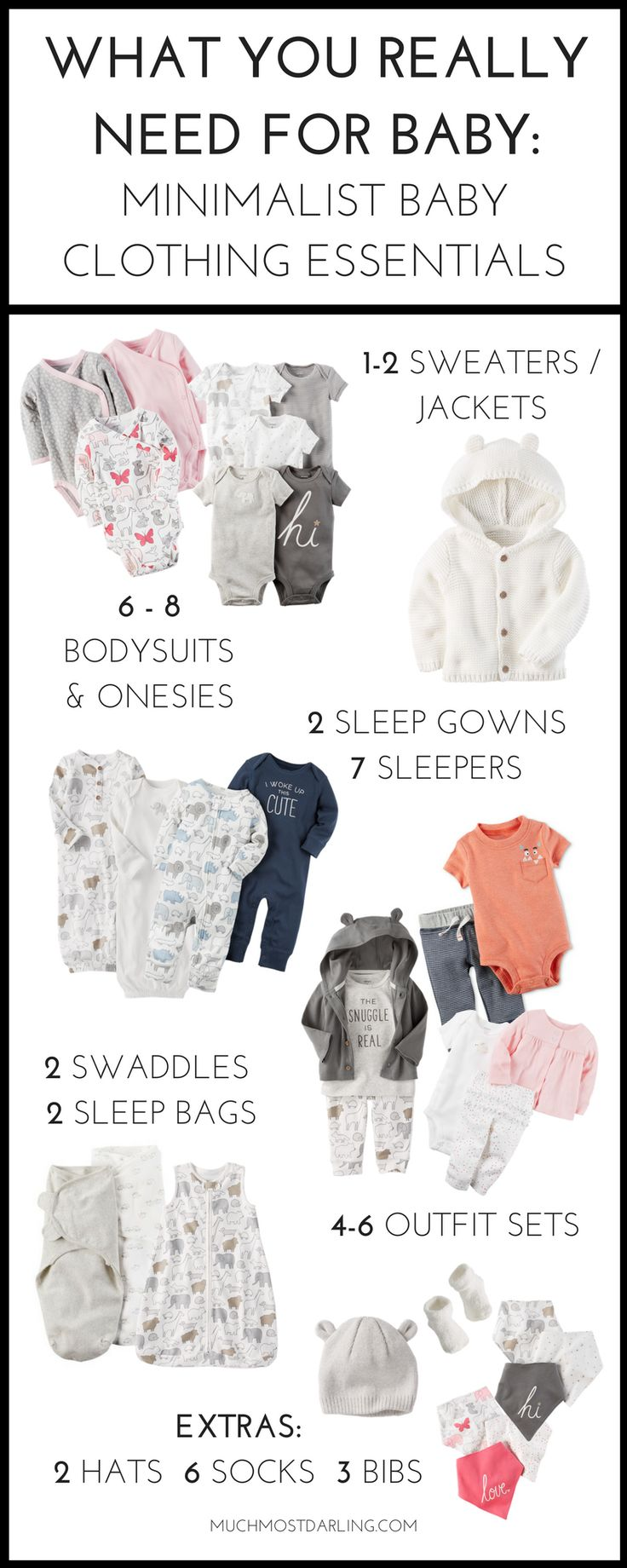 Wondering how many baby clothes you need for each size? Come see my first year essentials for a minimalist capsule wardrobe for your baby at Carter's.
