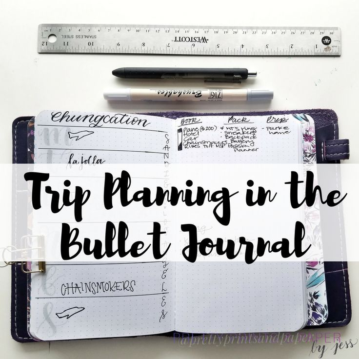 Domestic Trip Planning in the Bullet Journal  I love traveling whether that's a day trip, weekend, domestic, or international - with so many details to settle before going on vacation, it helps to create a new bullet journal spread to capture some of the tasks and planning associated with trips. …  More  Domestic Trip Planning in the BulletJournal  https://prettyprintsandpaper.com/2016/12/11/vacation-trip-planning-bullet-journal/