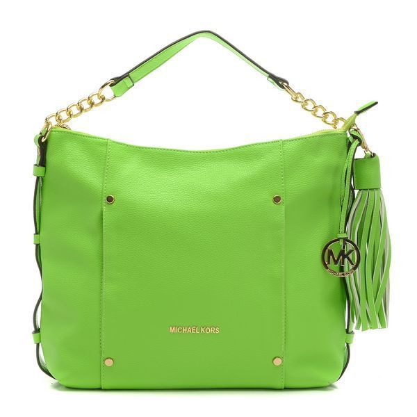 Michael Kors Leigh Stud Large Green Shoulder Bags
