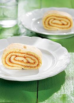 Hungarian Lekváros tekercs (Rolled up soft sponge cake filled with jam)