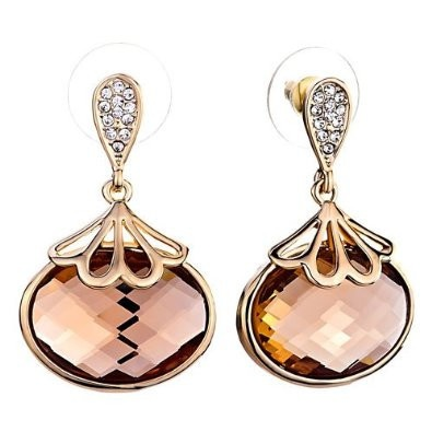 Rose Gold Plated Champagne Drop Crystal Stud Earrings  $17.89