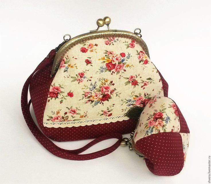 """Купить Сумочка с фермуаром и кошелек """"Элиза"""" - бордовый, цветочный, горошек, сумочка с фермуаром, сумочка на фермуаре"""