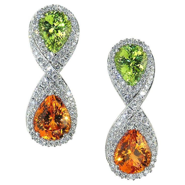 Exeptional Mandarin Garnet Chrysoberyl Diamond White Gold Earrings