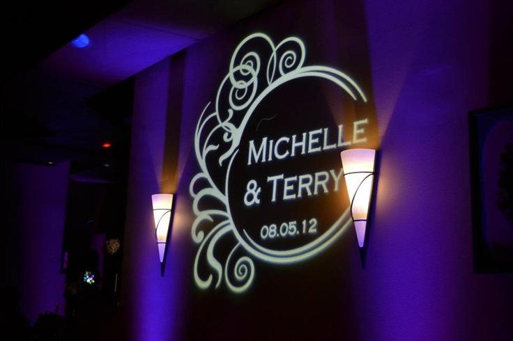 Custom Wedding Monogram Light with LED Up-Wall Lighting. Visit http://www.ScotiaEntertainment.com