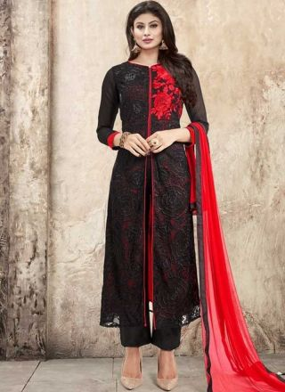 Mouni Roy Black Red Embroidery Work Georgette  Pakistani Designer Suit  http://www.angelnx.com/Bollywood