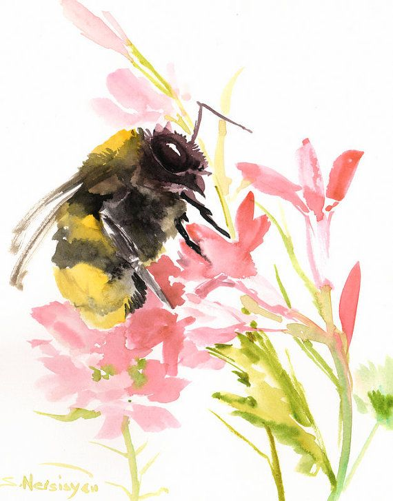 BumbleBee Original Watercolor Painting Yellow Pink Art 8 X 10 In