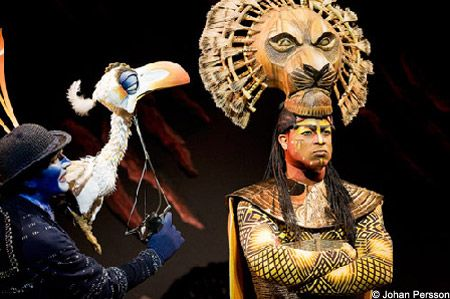 The Lion King, el musical, personajes, Mufasa y Zazú ... Lion King Broadway Zazu