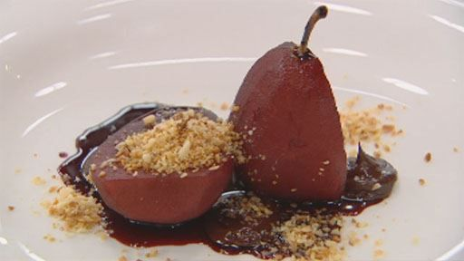 Spiced Poached Pears with Orange Creme Anglaise, Chocolate Ganache & Sugared Macadamia Crumble