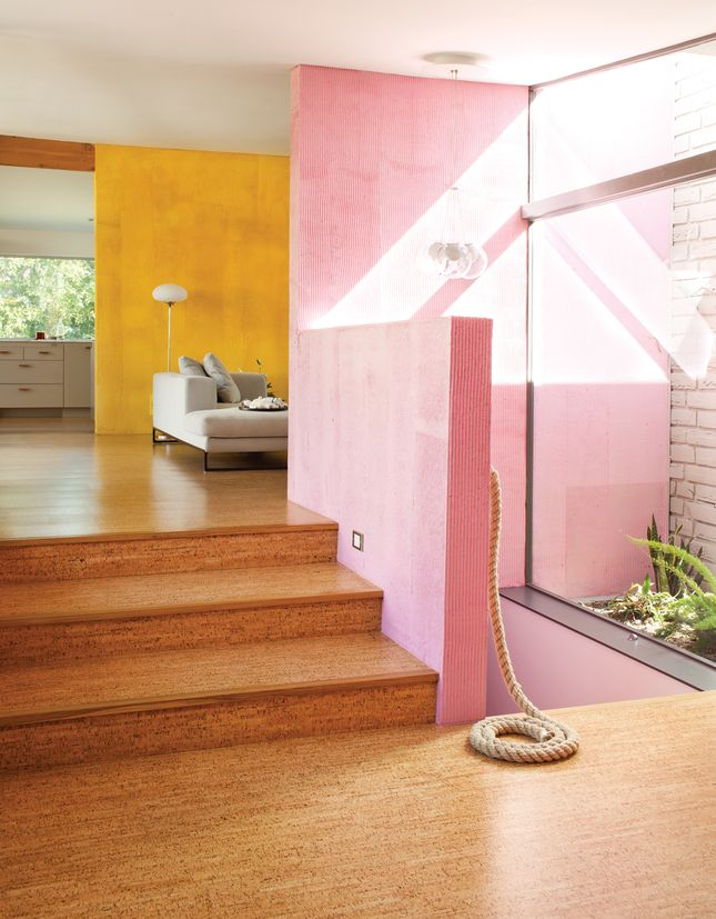 wood floors, pink wall, yellow wall, glass wall