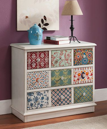 This Patchwork Five-Drawer Chest is perfect! #zulilyfinds Totally making my old dresser into something like this!!