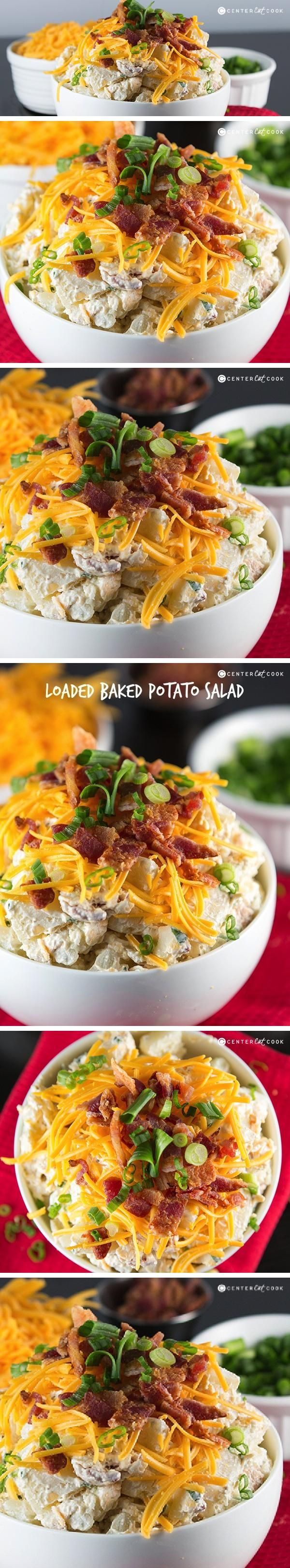 This Loaded Baked Potato Salad has everything you love about baked potatoes! It's made with sour cream, real bacon crumbles, cheddar cheese and chives. It's best served cold and is the perfect side for summer pot lucks and picnics! This Loaded Baked Potato Salad will soon be a summer staple in your house.