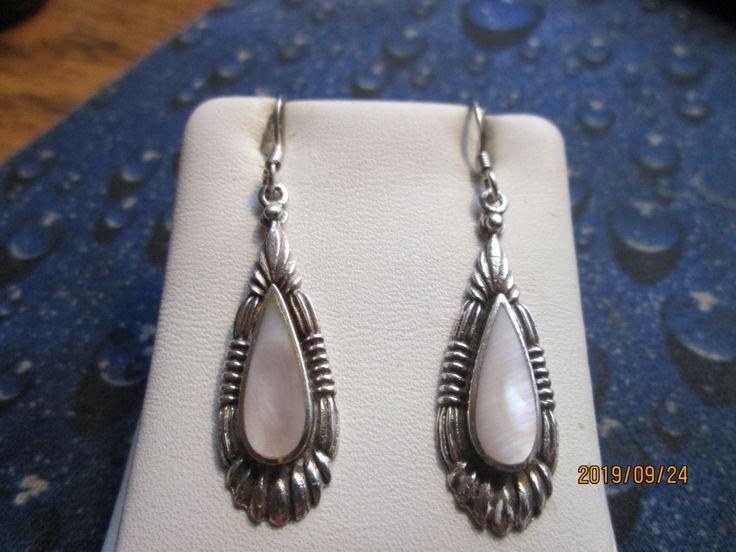 "Vintage Southwestern Genuine Mother of Pearl Sterling Silver 925 Dangle Earrings, 1 3/4"" Long, Wt. 4.2 Grams by TamisVintageShop on Etsy"