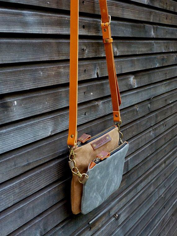 lona encerada día bolso mensajero pequeño bolso / bolsa