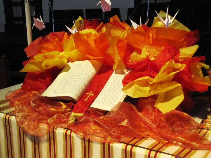 close up of altar table in sanctuary celebrating pentecost