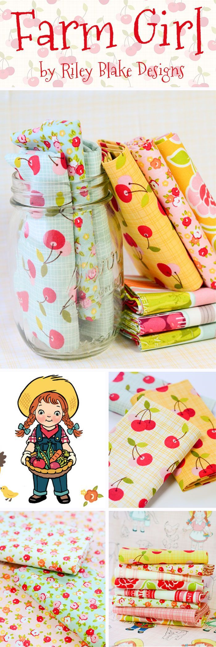 Farm Girl by October Afternoon - Riley Blake Create a charming, cozy, country throw or vintage quilt with the Farm Girl fabric from Riley Blake Designs. This collection features a range of adorable fabrics that detail canning labels, mason jars filled with vegetables, and the sweet farm girl herself. Incorporate a piece like the Rose Trellis, a cute and playful floral, with the Cherry Pie fabric.