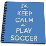 3dRose db_159643_1 Keep Clam and Play Soccer Blue Soccer Lovers Drawing Book 8 by 8Inch >>> Click image to review more details.