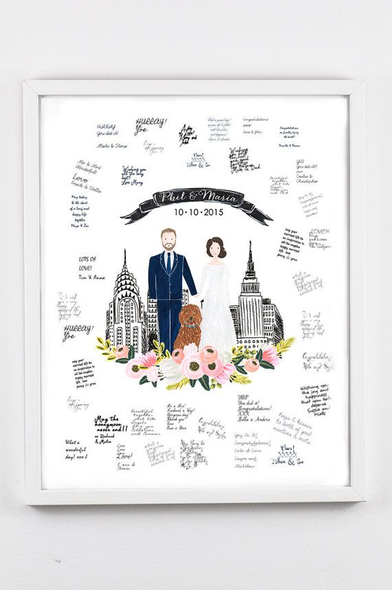 Wedding Guest Book Sign Poster, Custom Couple Portrait Illustration, Couple Wedding Illustration, Couple Portrait, Wedding Anniversary Gift  This is
