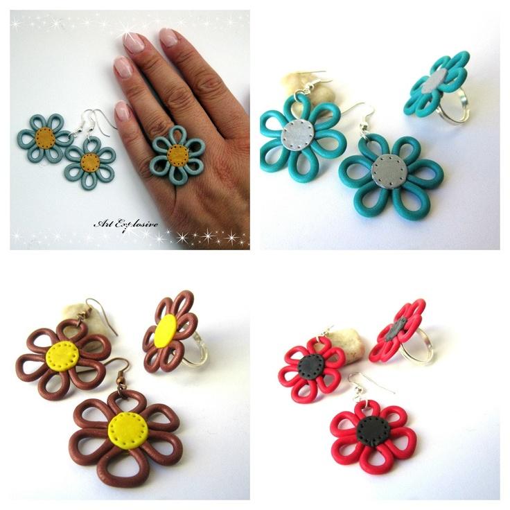 Ring earrings polymer clay fimo earrings premo ring. $15.00, via Etsy.