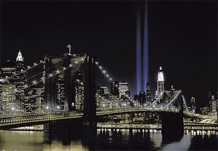 Photo wallpaper new york twin tower lights wall mural for City lights mural