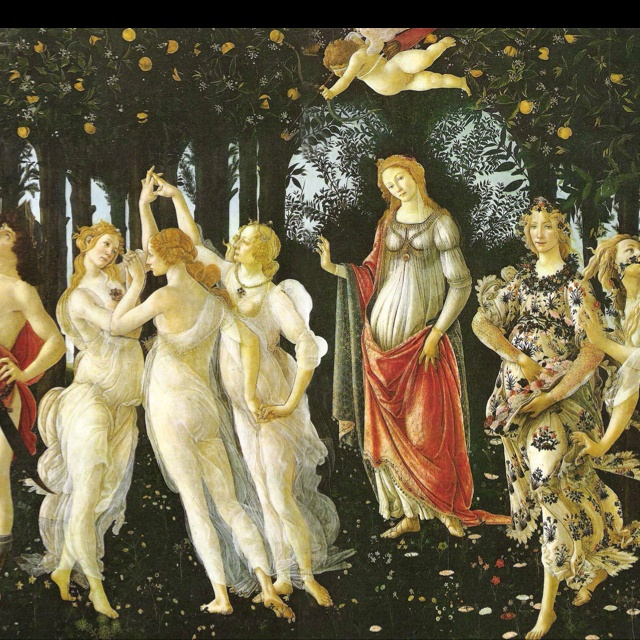 La Primavera, Botticelli. Also known as Allegory of Spring. Painted ca. 1482, the painting is known as one of the most popular paintings in Western art. It is also one of the most written about in the world. The subject is a group of mythological figures in a garden, allegorical for the lush growth of Spring,