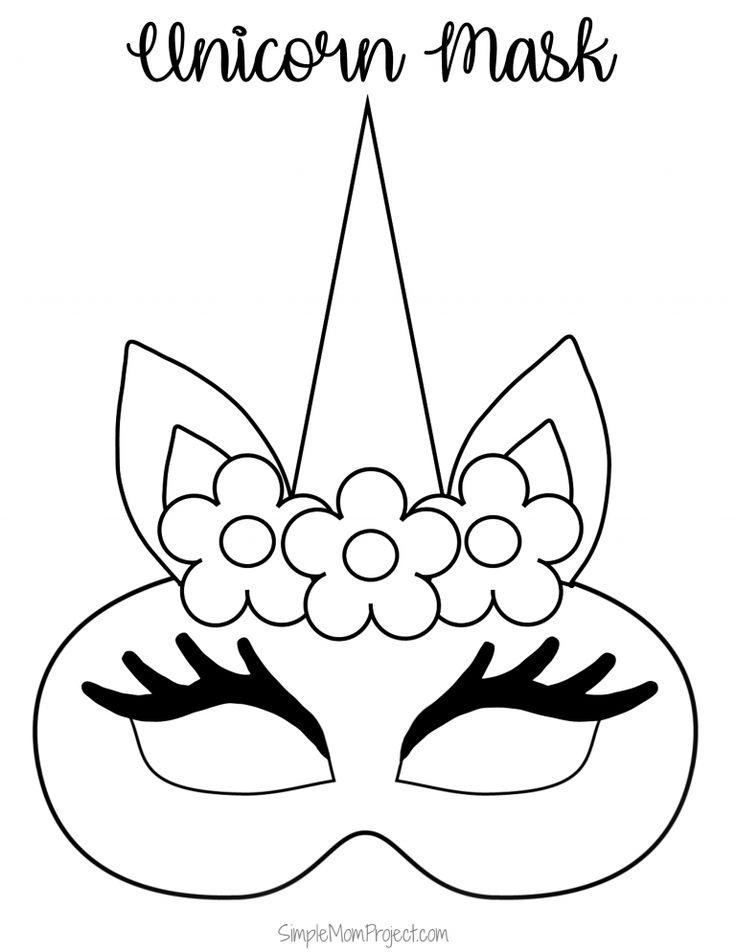 Unicorn Face Masks with FREE Printable Templates | Masken ...
