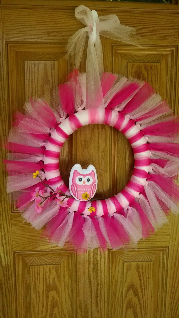 My newest wreath! Its an owl theme for a little girls room!! Made out of tulle with a branch and owl! https://www.etsy.com/listing/194007344/baby-girl-owl-wreath
