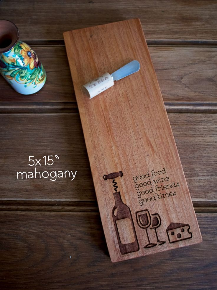 """5x15"""" cheese board,  engraved wood cutting board, birthday, wedding…"""