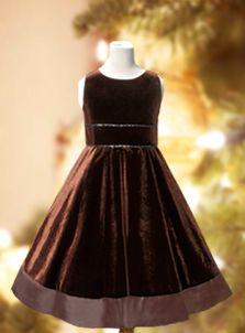 velvet ~ and Christmas dresses ~ http://www.littlemissprincess.com/clothing/Dresses/flower-girl-dresses/brown-flower-girl-dresses/brown-velvet-dress.htm