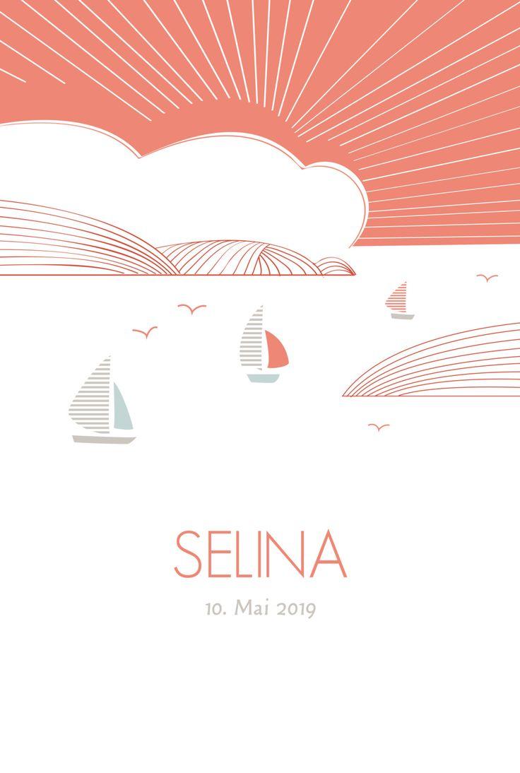 Eine neue Reise hat begonnen. Dies symbolisiert unsere Geburtskarte Horizont. Auf geht es zu neuen Abenteuern und spannenden Erfahrungen. Die drei kleinen Schiffen ...