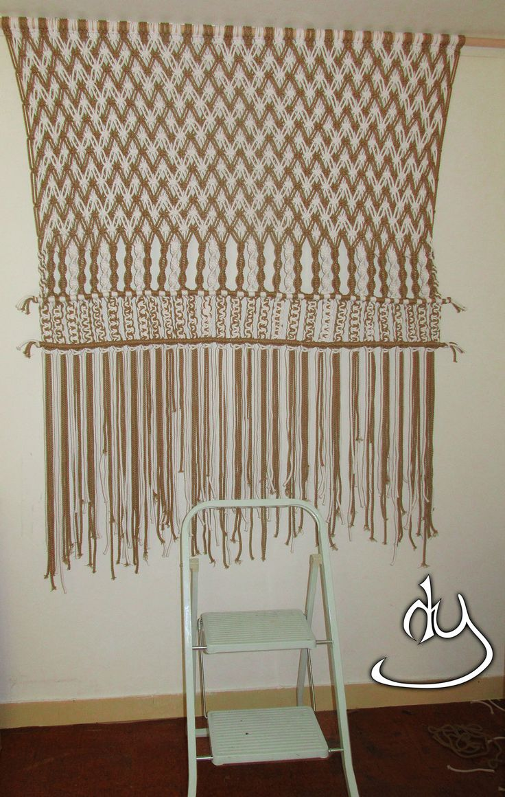 Macrame Wall Hanging with multi dark beige and white cotton cords by…