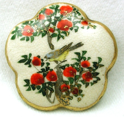 Vintage Satsuma Button Hand Painted Bird & Flowers w/ Scalloped Edge & Gold