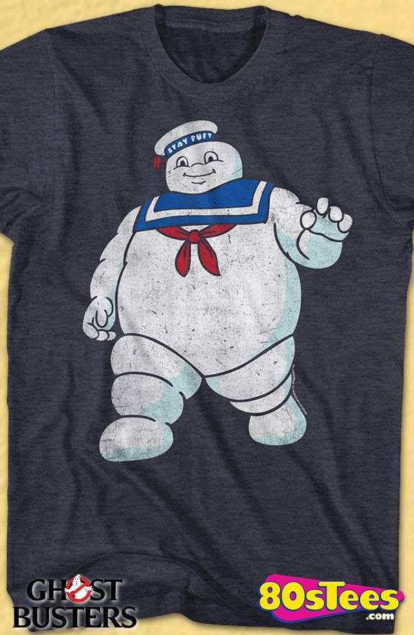 Mr. Stay Puft Real Ghostbusters T-Shirt: Ghostbusters Geeks:   Enjoy the comfort of home or travel the great outdoors in this men's style shirt that has been designed and illustrated with great art.