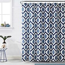 image of VCNY Santa Fe Shower Curtain in Navy/White