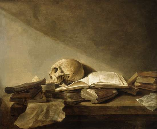Vanitas stilleven. Jan Davidsz de Heem.  Vanitas-Stillleven (1628). Utrecht. Bij een vanitas stilleven gaat het om de ijdelheid, tijdelijkheid en zinloosheid van het aardse. dit wordt weergegeven in het schilderij door alleen grijstinten te gebruiken. Er komen ook vaak schedels in voor, wat je ook terugziet in het schilderij. De schedel stat hierbij voor sterfelijkheid.