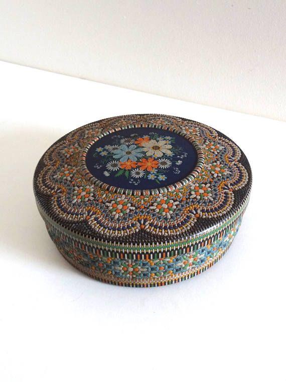 Antique Tin with Orange and Blue Floral Repoussé Decor
