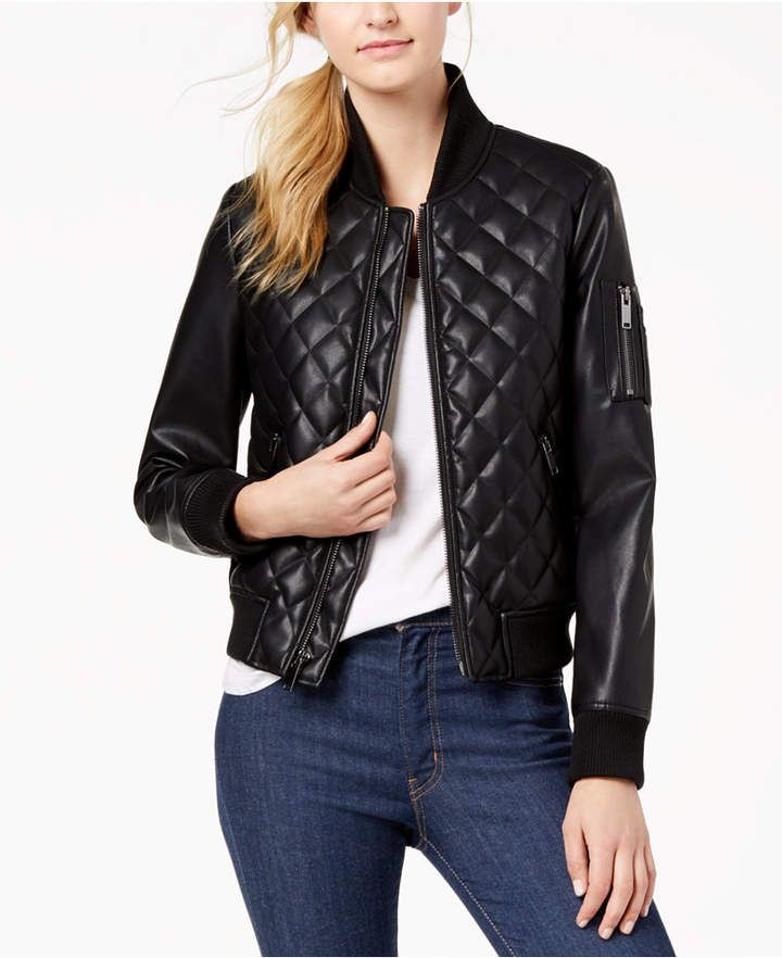 French Connection Diamond Quilted Faux Leather Bomber Jacket Faux Leather Bomber Jacket Leather Bomber Jacket Women Faux Leather Bomber