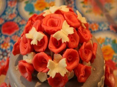 Rode rozen met vlinders