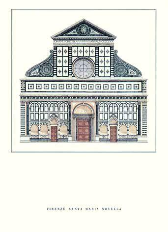 Diseño de la fachada de la Iglesia Santa María Novella en Florencia, realizada por Leon Battista Alberti
