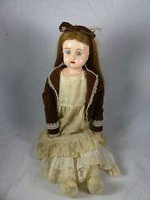 uralt Minerva Blustblattkopf Puppe mit Metallkopf, Lederkörper + alter Kleidung