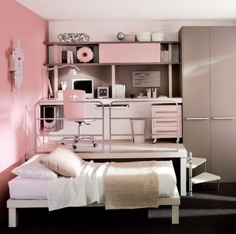 Small-Teen-Bedroom-Design-for-Girl Even though my bedroom is a medium size that I am happy with, this seems like a fantastic idea!