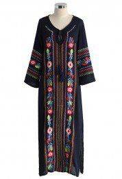 Boho Blossom Maxi Crepe Dress in Navy